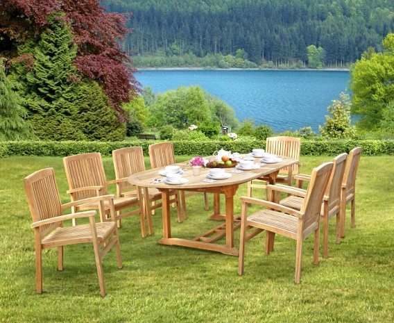 Santorini Extending Garden Table and Chairs Set | Patio Dining Set With Stacking Chairs