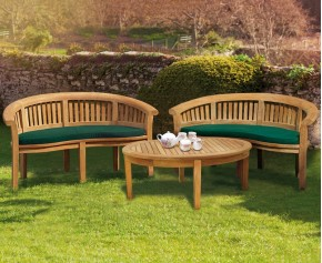 Teak Banana Bench and Coffee Table Set - Kidney Table, Bench and Chair Set