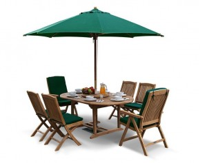 Deluxe Brompton Teak Extendable Dining Table and 6 Bali Chairs Set (B) - Reclining Chairs