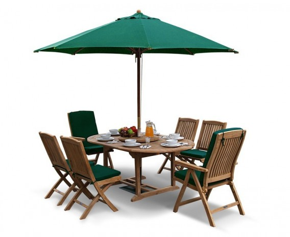 Deluxe Brompton Teak Extendable Dining Table and 6 Bali Chairs Set