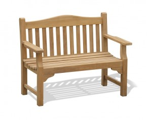 Tribute 4ft Teak Commemorative Memorial Bench - Flat Armed Garden Benches