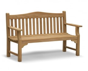 Tribute 5ft Teak Commemorative Memorial Bench  - Flat Armed Garden Benches
