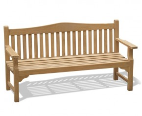 Tribute 6ft Teak Commemorative Memorial Bench - Flat Armed Garden Benches