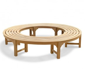 Saturn Teak Backless Round Tree Bench - Curved Garden Benches