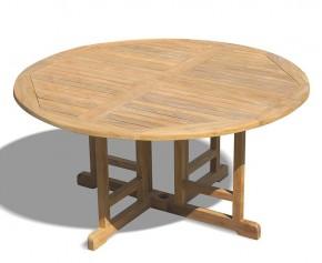 Berrington Teak Circular Drop Leaf Table – 1.5m