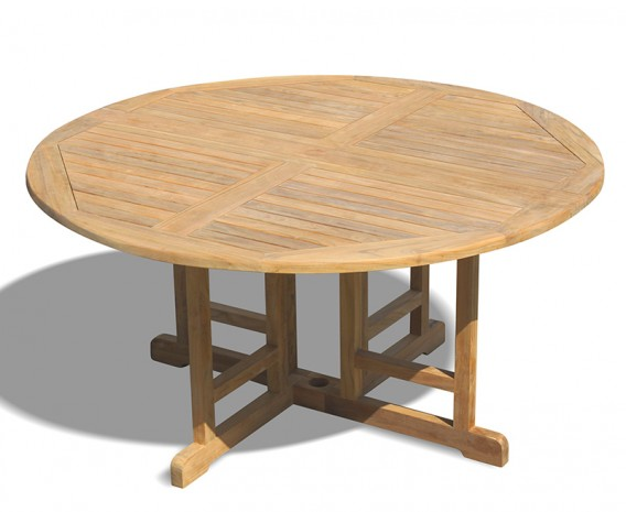 Berrington Teak Circular Drop Leaf Table – 1.5m