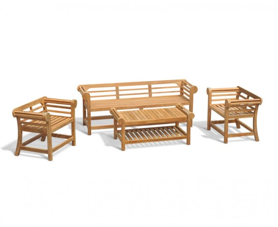 Teak Lutyens Low Back Bench and Table Set - 1.95m