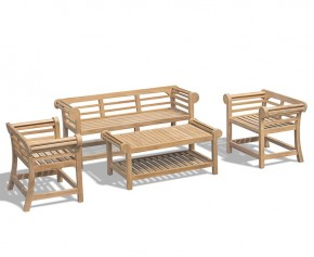 Teak Lutyens-Style Low Back Bench and Table Set - 1.65m