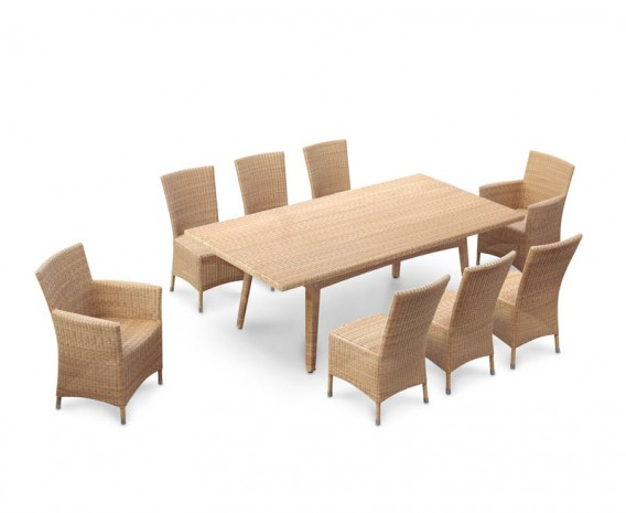 Riviera 8 Seater Rattan Garden Dining Set with Side Chairs & Armchairs