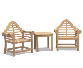 Teak Tea Table and Lutyens-Style Armchairs Set