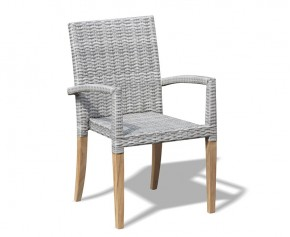 St Tropez Rattan Garden Stacking Chair - Armchairs