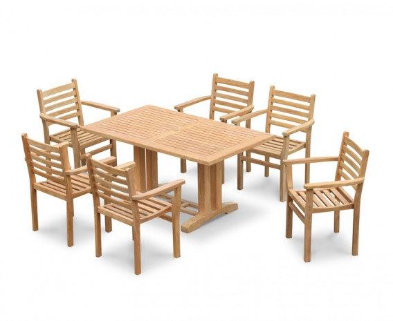 Cadogan 6 Seater Garden Pedestal Table 1.5m & Yale Stacking Chairs