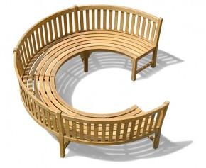 Henley ¾ Teak Curved Garden Wooden Bench
