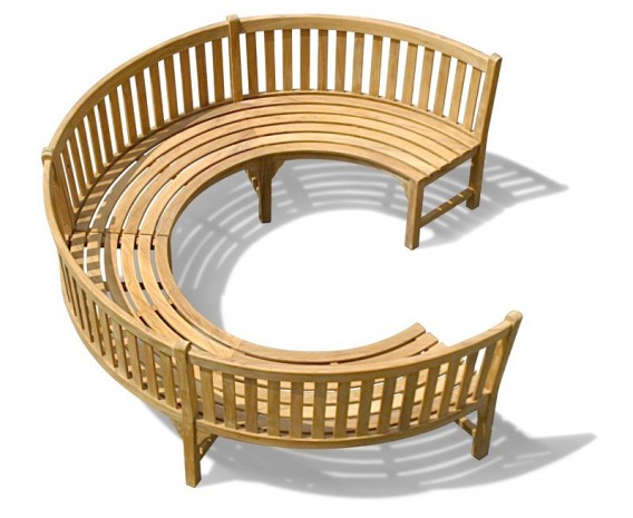 Henley ¾ Teak Curved Garden Wooden Bench