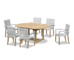 St Tropez Teak Garden Table and 6 Rattan Stackable Chairs Set - Dining Sets