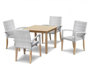 St Tropez Teak and Rattan Table and Chairs Set - 4 Seater Dining Sets