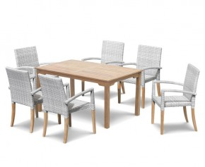 St Tropez Teak Garden Table and Rattan Stacking Chairs Set - Dining Sets