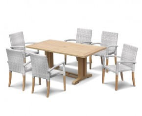 6 Seater Outdoor Dining Set with Cadogan 1.8m Table and St. Tropez Stacking Chairs