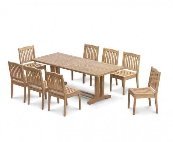 Cadogan Outdoor Pedestal Table 2.25m & 8 Hilgrove Stacking Chairs