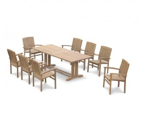 Cadogan Garden Pedestal Table 2.25m & 8 Bali Stacking Chairs