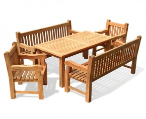 Balmoral Teak Dining Table and Benches Set - 1.8m - Dining Sets with Benches