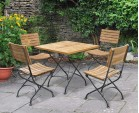 Bistro Square Table and 4 Chairs - Patio Garden Bistro Dining Set