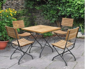 Bistro Square Table and 4 Chairs - Patio Garden Bistro Dining Set - Folding Chairs