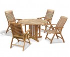Berrington Round Gateleg 1.2m Table with 4 Bali Recliners