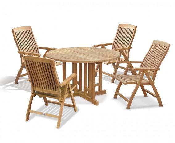 Berrington Round Gateleg 1.2m Table with 4 Bali Recliners