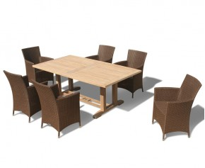 Cadogan Teak Wood Pedestal Table 2m & 6 Riviera Rattan Chairs