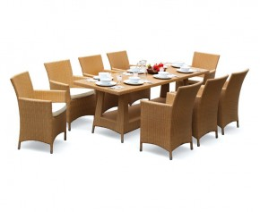 Riviera Poly Rattan 8 Seater Dining Set - 8 Seater Dining Table and Chairs