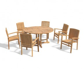 Berrington 6 Seater Round Folding Garden Table 1.5m and Bali Teak Stacking Chairs