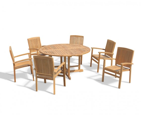 Berrington 6 Seater Round Folding Garden Table 1 5m And Bali Teak Stacking Chairs