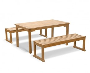 Sandringham Teak Table and Benches Set 1.5m - Dining Sets