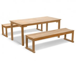 Sandringham Teak Table and Benches Set - 1.8m - Teak Garden Furniture Sale