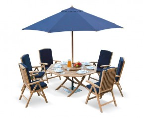 Suffolk 5ft Octagonal Folding Table and 6 Reclining Chairs Set