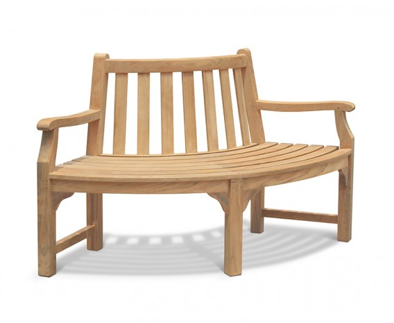 Teak Tree Seat Quarter Bench with arms