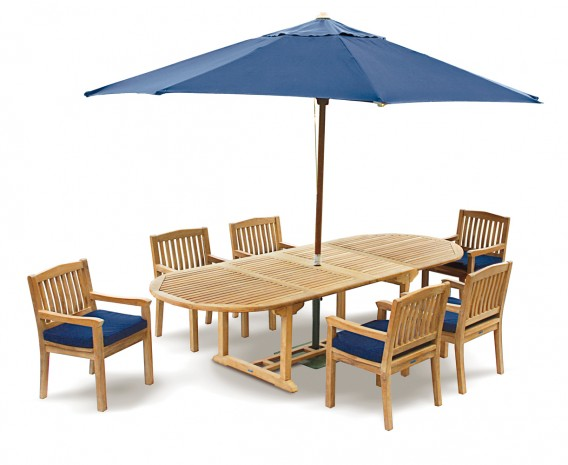 Brompton Teak 6 Seater Extending Dining Set - Outdoor Patio Table and 6 Chairs