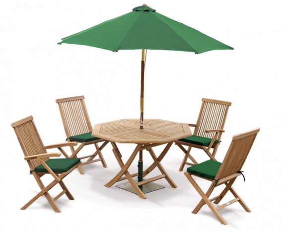 Suffolk Octagonal Folding Garden Table and Chairs Set