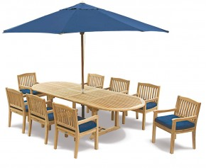 Brompton Teak Garden Extendable Dining Set with 8 Armchairs - Outdoor Patio Table and 8 Chairs - Hilgrove Dining Set