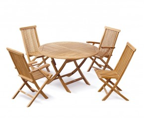 Suffolk Folding Round Garden Table and Chairs Set - Round Table