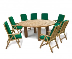 Titan 8 Seater Garden Dining Set With Reclining Chairs - 8 Seater Dining Table and Chairs