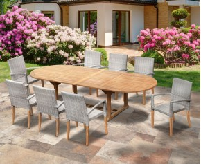 St Tropez 8 Seater Teak Table and Wicker Stacking Chairs Dining Set