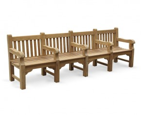 Balmoral Park Bench - Teak Wooden Street Bench - 3m - Extra Large Garden Benches