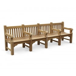 Balmoral Park Bench - Teak Wooden Street Bench - 3m