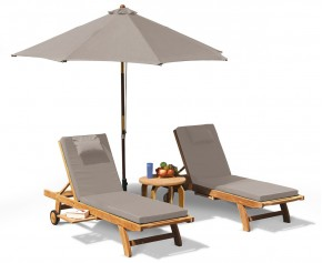Gemini Fixed Teak Sun Lounger Set with Cushions and Parasol - Teak Sun Loungers