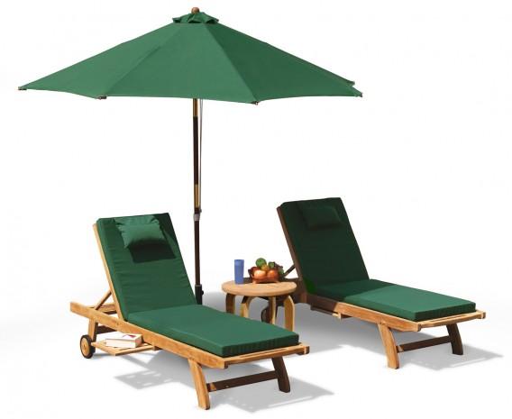 Gemini Fixed Teak Sun Lounger Set with Cushions and Parasol