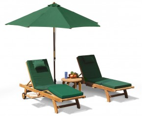 Gemini Luxury Teak Sun Lounger Set with Cushions and Parasol - Teak Sun Loungers