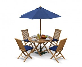 Suffolk Teak Round Folding Table and 4 Chairs Set - Outdoor Patio Teak Dining Set - Folding Chairs