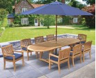 Brompton Teak Garden Extendable Dining Set with 8 Armchairs - Outdoor Patio Table and 8 Chairs
